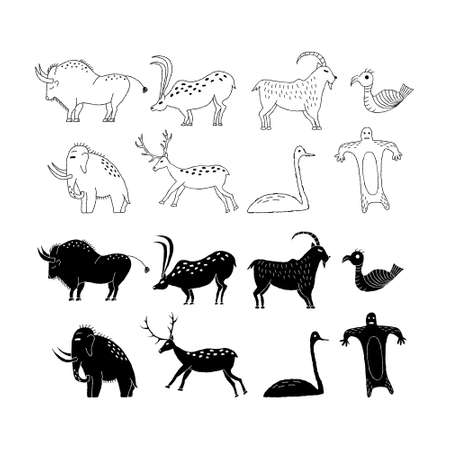 A set of animals from rock art. Prehistoric drawings Outline. 矢量图像