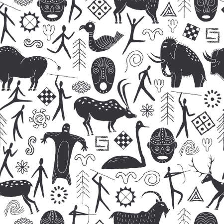 Seamless pattern with decorative elements and man from rock art. Prehistoric drawings Outline.