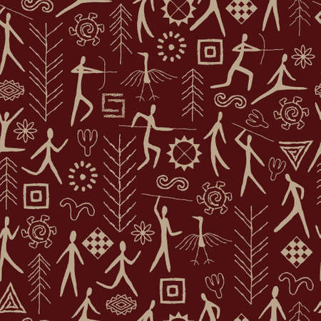 Seamless pattern with decorative elements and man from rock art. Prehistoric drawings.
