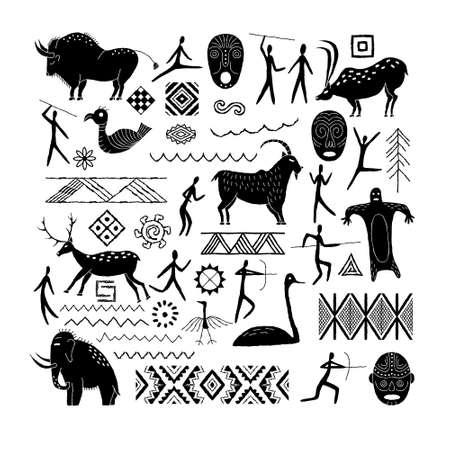 A set of decorative elements from rock art. Prehistoric drawings. Ilustración de vector