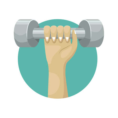 Vector illustration of dumbbells in hand. Sports equipment. 矢量图像