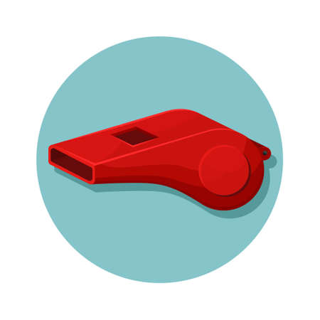 Vector illustration of a red whistle. Sports equipment.