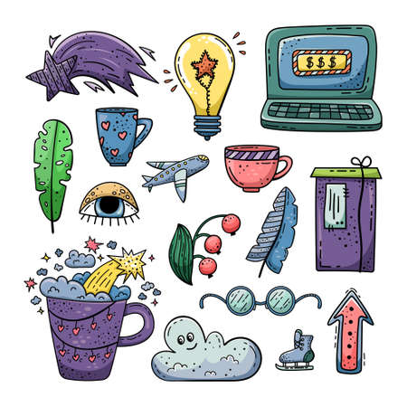 Hand drawn vector of doodle illustrations. Lifestyle doodle. 矢量图像
