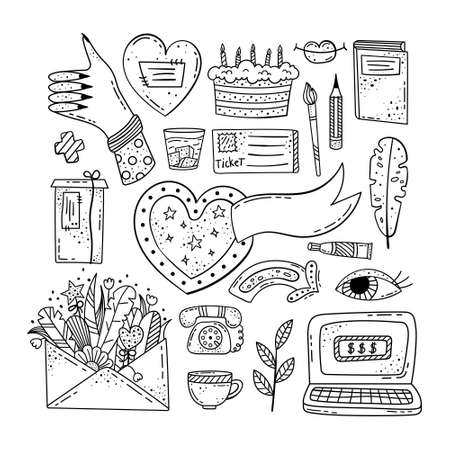 Hand drawn vector of doodle illustrations Lifestyle doodle.