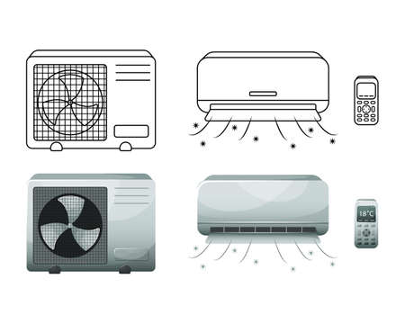 Vector illustration of a household air conditioner. Isolated illustration.