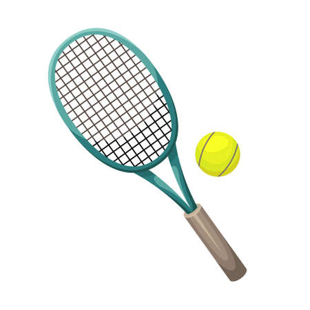 Vector illustration of a tennis racket with a ball.