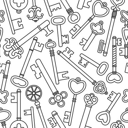 Vector seamless pattern with retro keys. Vintage background.