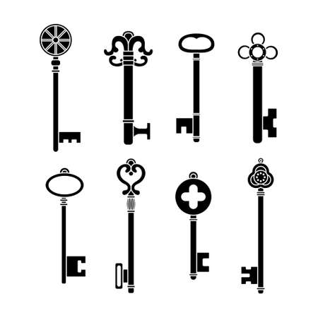 Vectro set of retro keys in simple style.