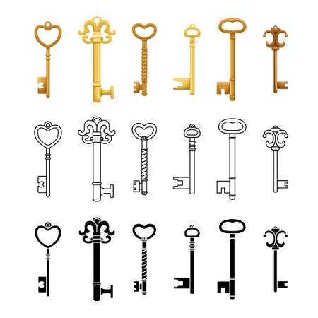 Vector set of retro keys in three styles.
