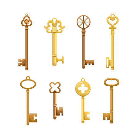 Vector set of retro keys in flat style. 矢量图像