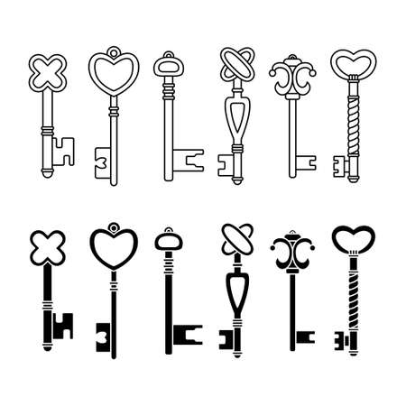 Vector set of retro keys in simple and outline styles. 矢量图像