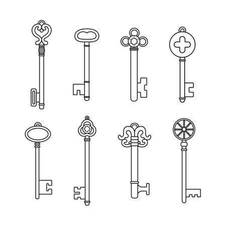 Vector set of retro keys in outline style.