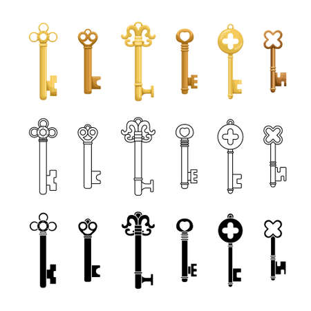 Vector set of retro keys in three styles flat, outline, simple.