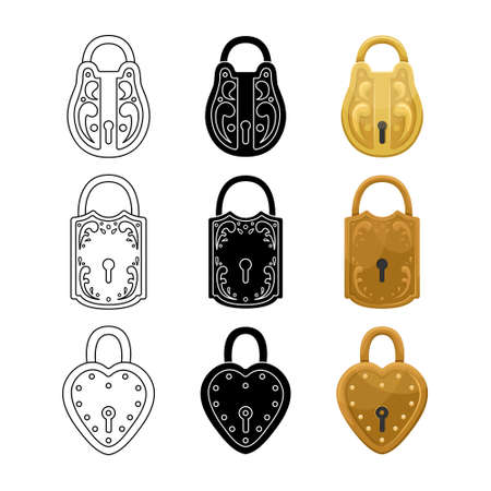 Vector set of retro locks. Vintage illustration. 矢量图像