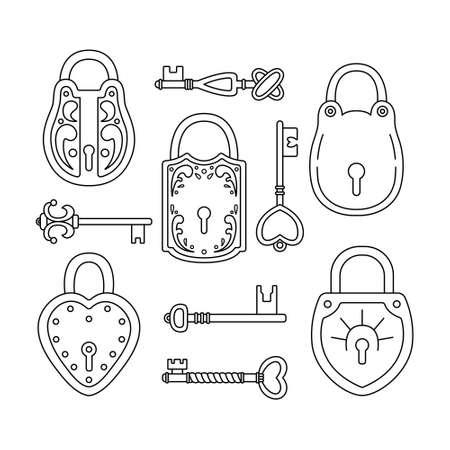 Vector set with retro keys and locks.