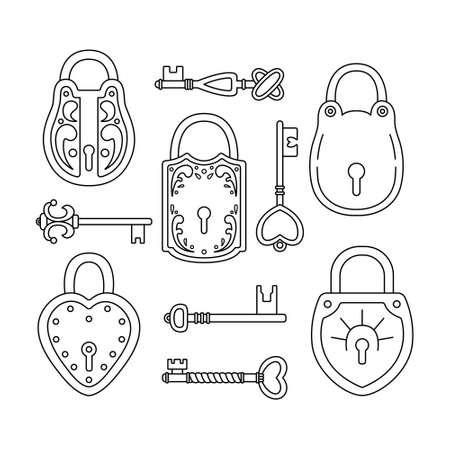 Vector set with retro keys and locks.