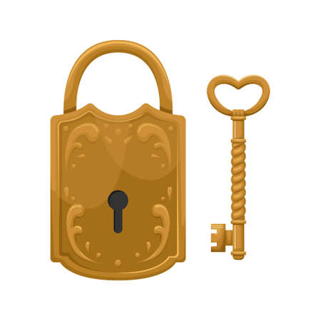 Vector illustration of retro key and lock. 矢量图像