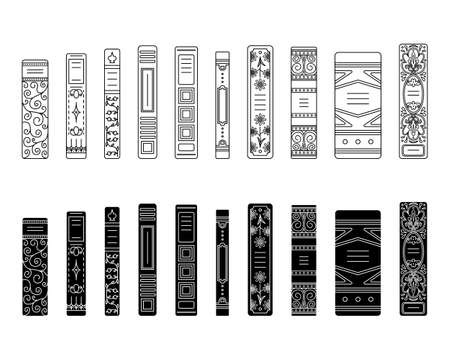 A set of outline and simple style spines of books in retro style, classic editions.