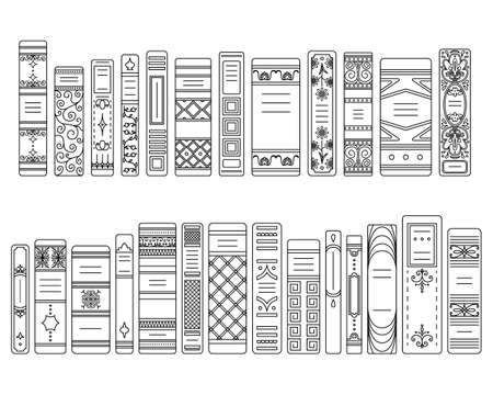A set of outline spines of books in retro style, classic editions.
