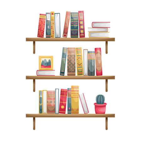 Wall-mounted bookshelves with books. Book spines in retro style.