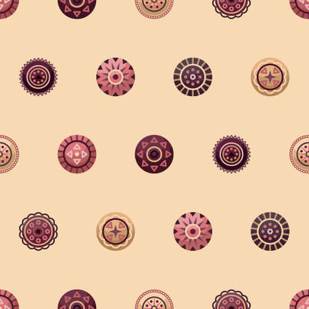 Vector seamless pattern with boho geometrical round elements. Flat style