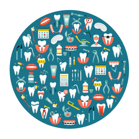 Vector illustration of flat dentistry icons in a round shape