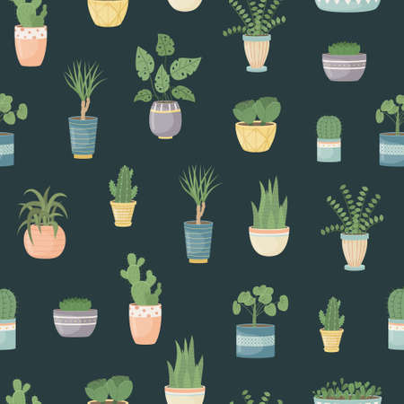 The seamless pattern with house plants in pots. Planting plants. Decorative plants in the interior of the house. Flat style.