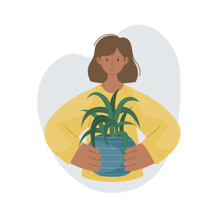 The girl with house plant in pot in her hands. Planting plants. Decorative plants in the interior of the house. Flat style.