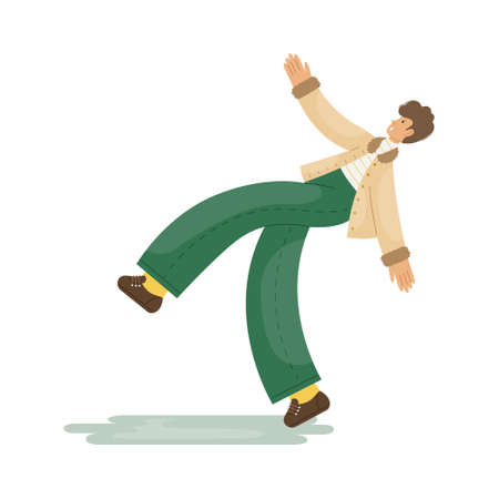 Vector illustration of a man who slipped on the ice on the sidewalk. Illustration