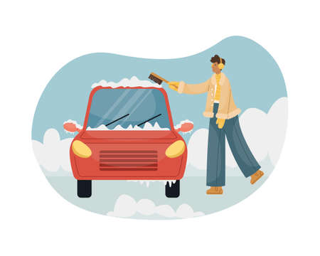 Vector illustration of a man sweeping snow with a brush from a car. Illustration