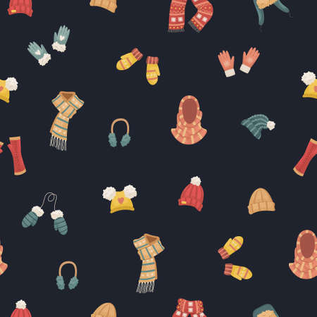 Vector seamless pattern with winter hats. Hat, snood, headphones, gloves, mittens, blowjobs. Illustration