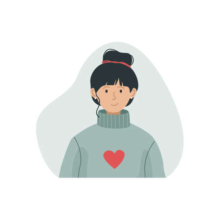 Vector illustration of a girl in a warm knitted sweater with a high neck. Winter clothing.