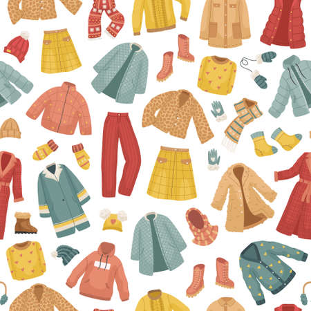 The seamless pattern with winter clothes. Coats, The vector set of winter clothes. Coats, hats, gloves, shoes and socks. Illustration