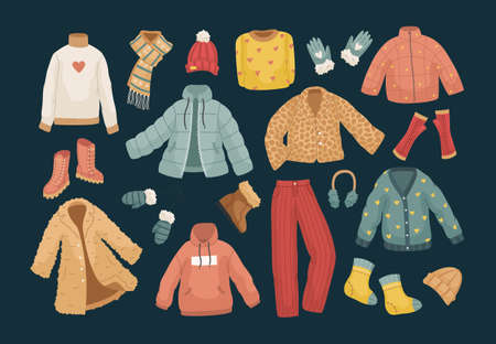 The vector set of winter clothes. Coats, hats, gloves, shoes and socks. Illustration
