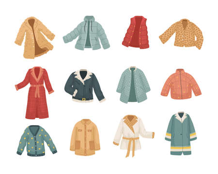 Vector set of vinter clothes. Different types of coats and jackets. Illustration