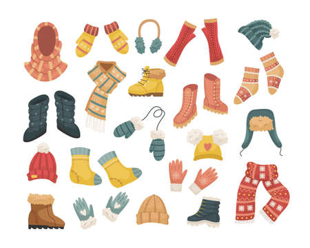A set of vector illustrations of winter hats. Hat, snood, headphones, gloves, mittens, blowjobs. Illustration