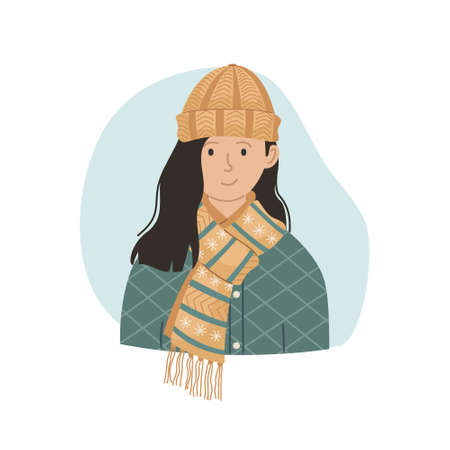 Vector illustration of a girl in a winter knitted hat and scarf. Winter clothing.