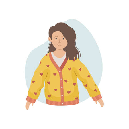 Vector illustration of a girl in a winter knitted sweater. Winter clothing.