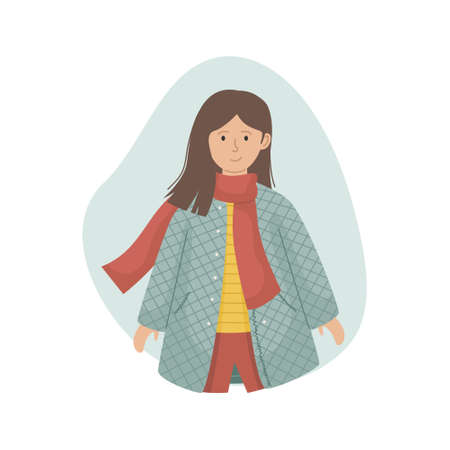 Vector illustration of a girl in a sintepon coat and a knitted scarf. Winter clothing.