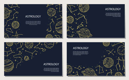 Vector set of posters with planets and constellations. Astrological background. A template with space for text. Illustration