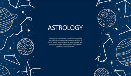 Vector poster with planets and constellations. Astrological background. A template with space for text.