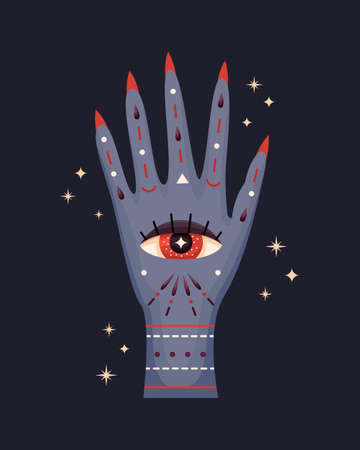 Vector illustration of a witch's hand. Mystical illustration. Illustration