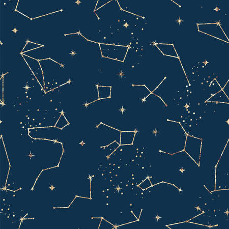 Astrological seamless pattern with stars and constellations. Gold foil texture
