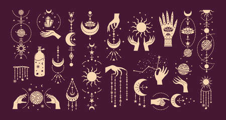 Vector set of magic illustrations with mystery symbols. Magical cards.
