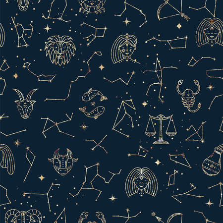 Astrological seamless pattern with zodiac signs, stars and constellations. Gold foil texture