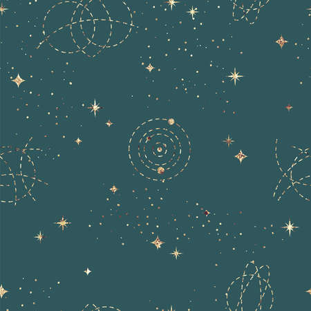 Astrological seamless pattern with starry sky. Gold foil texture Stock Photo