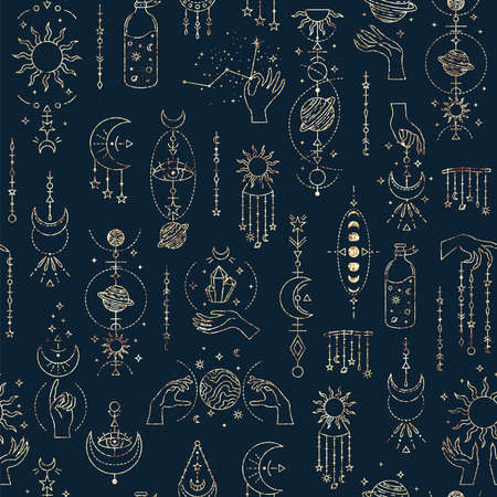 Magic seamless pattern with mystery symbols. Magical background Stock Photo