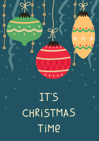 Christmas card with Christmas balls and garlands. New year greeting card.
