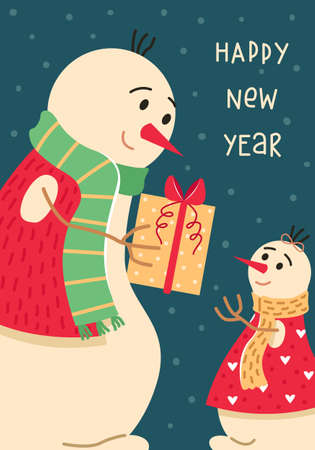 Christmas card with a family of snowmen. Dad gives his daughter a gift. New year greeting card. Illustration