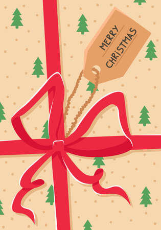 New Year's card with a Christmas gift with a red bow. New year greeting card.